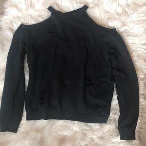 Off the shoulder black crew neck sweater